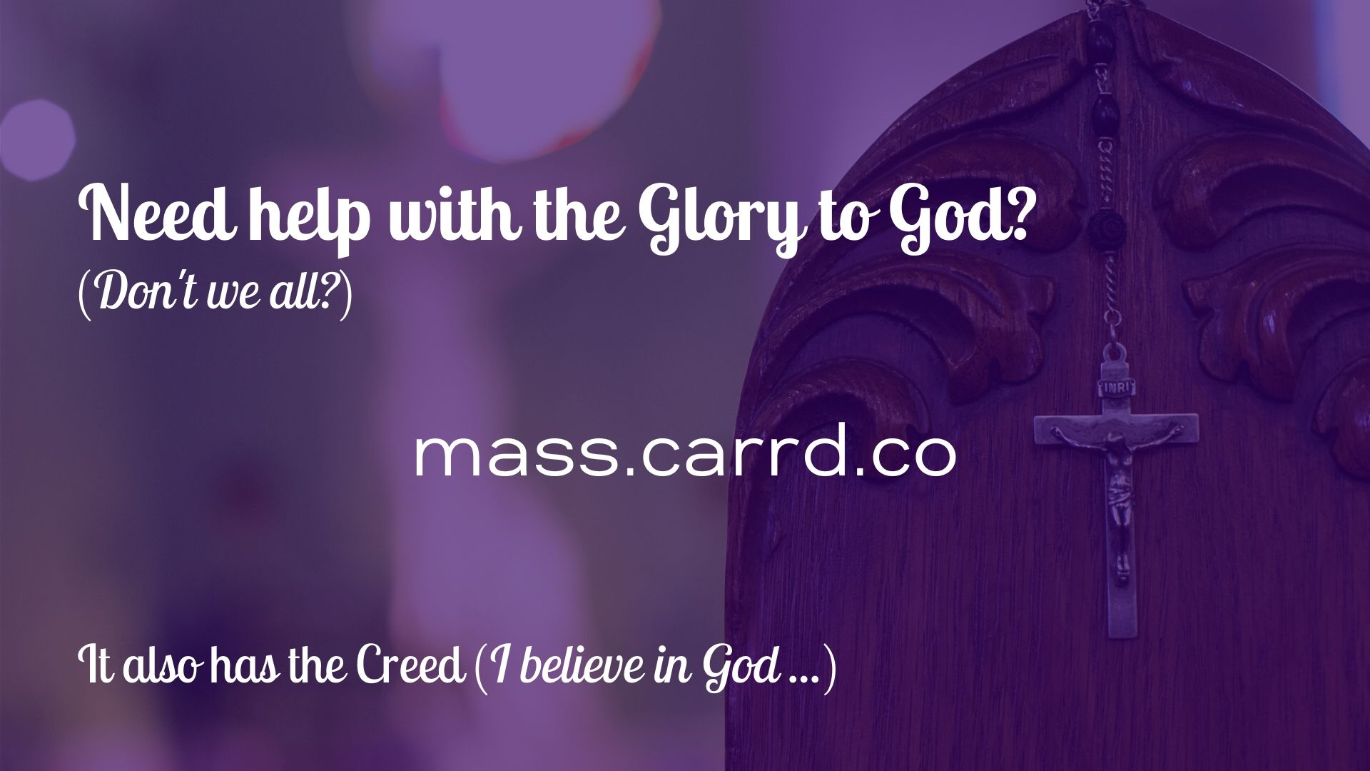 Need help with the Glory to God?